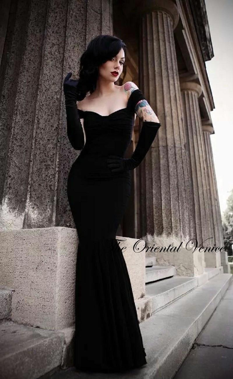 Sexy off the shoulder gothic style prom dresses black velvet