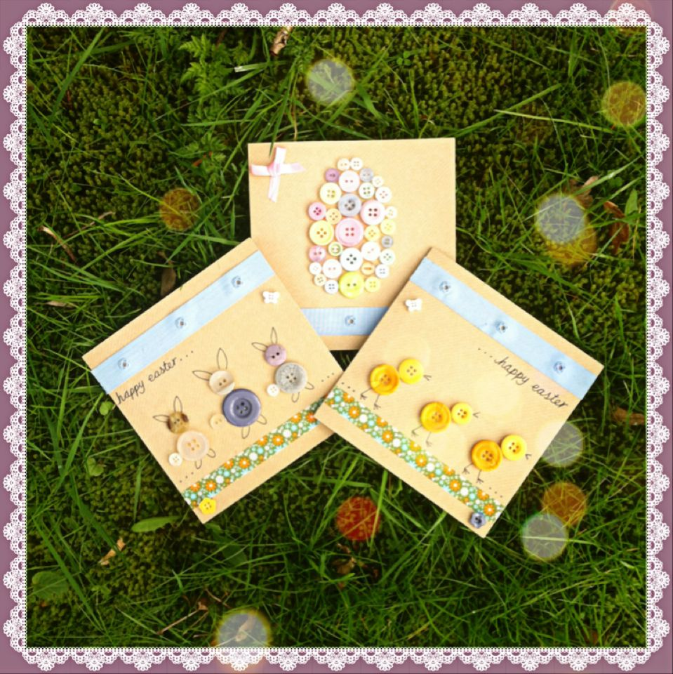 Button & ribbon Easter cards