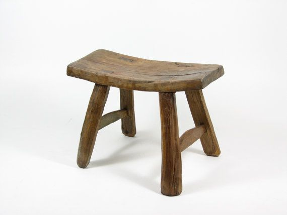 vintage wooden stool primitive wood