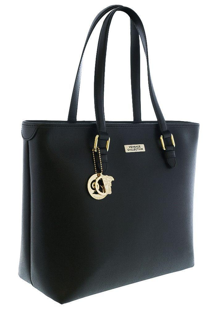 Versace Collection Lbf0375 L410c Black Leather Tote Shoulder Bag