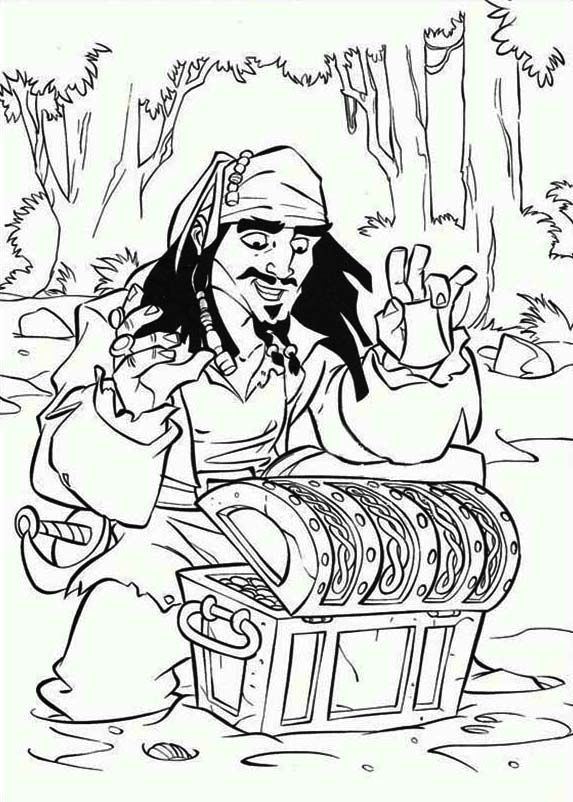 Treasure Chest Captain Jack Sparrow Found A Treasure Chest Coloring Page Pirate Coloring Pages Disney Coloring Pages Cartoon Coloring Pages