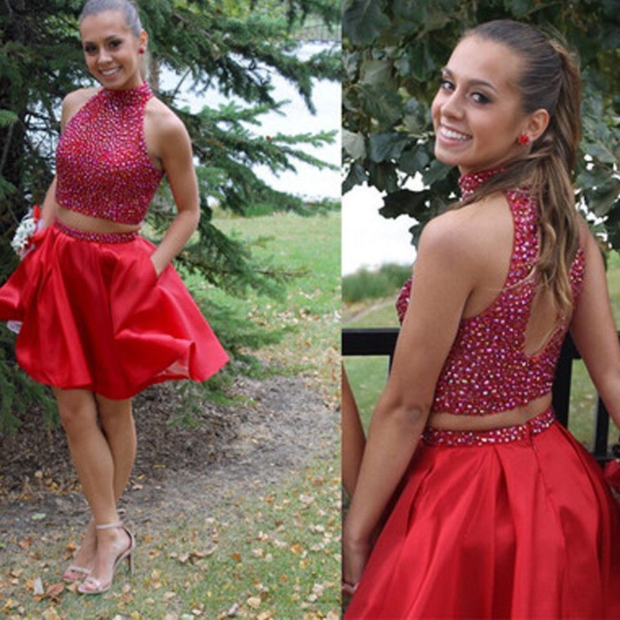 Popular blush red two pieces beaded unique tight homecoming prom