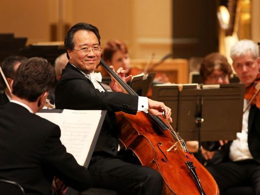 Yo-Yo Ma electrifies Music Hall in special CSO concert. Photo: Yo-Yo Ma performs with Cincinnati Symphony Orchestra in front of a sold-out crowd at Music Hall Wednesday. The Enquirer/Meg Vogel