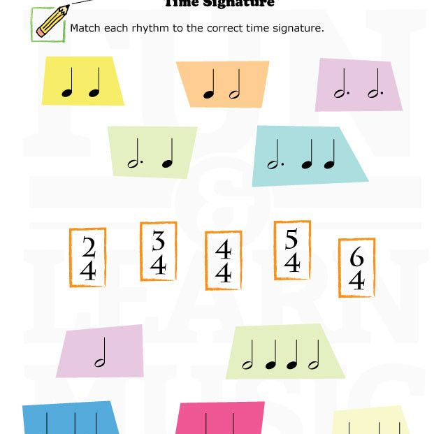 Time signature worksheet for kids! | Time Signature | Music ...