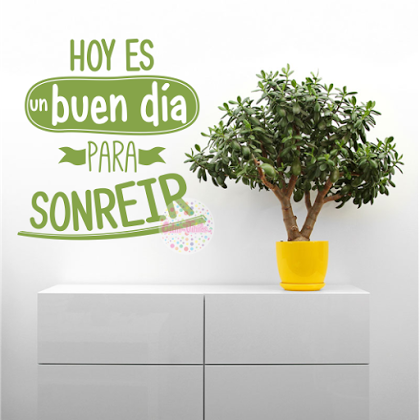 Vinilo Decorativo pared Frase Hoy Es Un Buen Día Para Sonreír