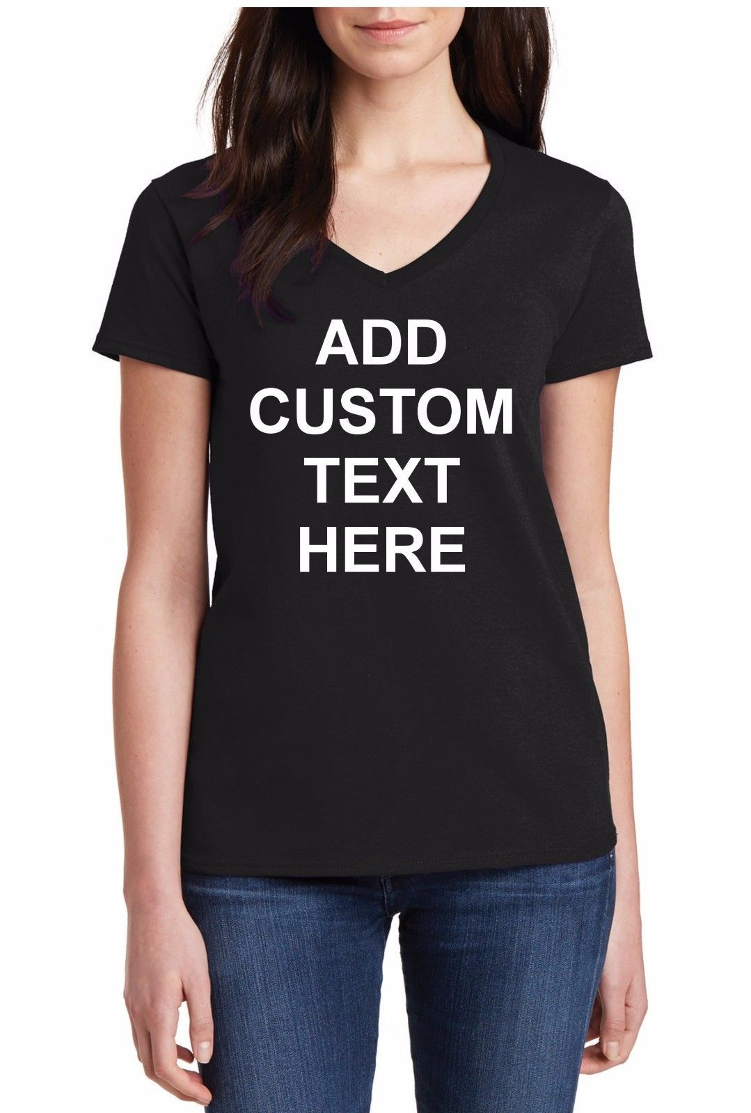 21d45cbe8 V-Neck Custom Personalized T Shirts Your Own Text Business Name T-Shirt Tee  Gift