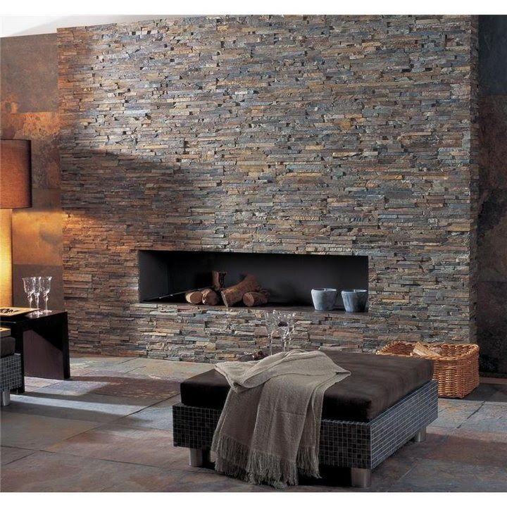 Split Face Stone Tile For The Fireplace