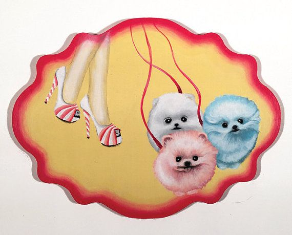 Cotton Candy PomPom is the name of this original painting.
