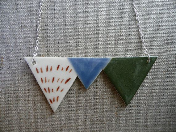Geometric porcelain necklace by andODesgin