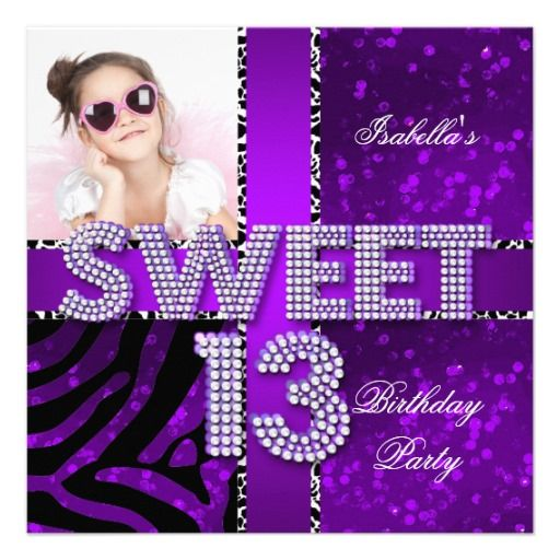 Sweet 13 13th birthday zebra glitter purple black card teen teen birthday invitation purple and glitter sweet 13 13th birthday zebra glitter purple black personalized filmwisefo Choice Image