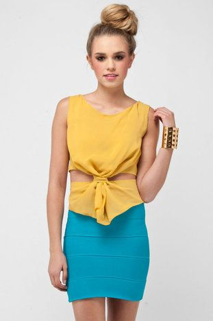 Knot It Tank Top in Mustard $38 at www.tobi.com  (love the top, would like another color.)