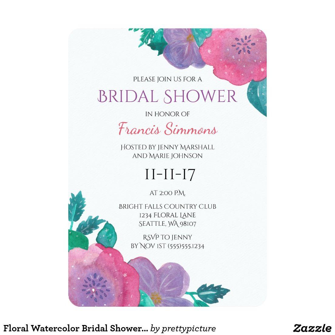 Floral Watercolor Bridal Shower Invitation Wedding Invitations