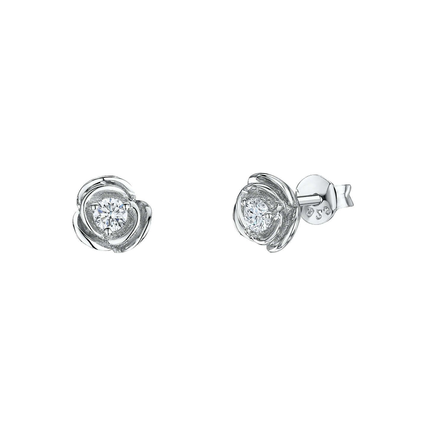 Jools By Jenny Brown Cubic Zirconia Round Stud Earrings Silver Online At Johnlewis