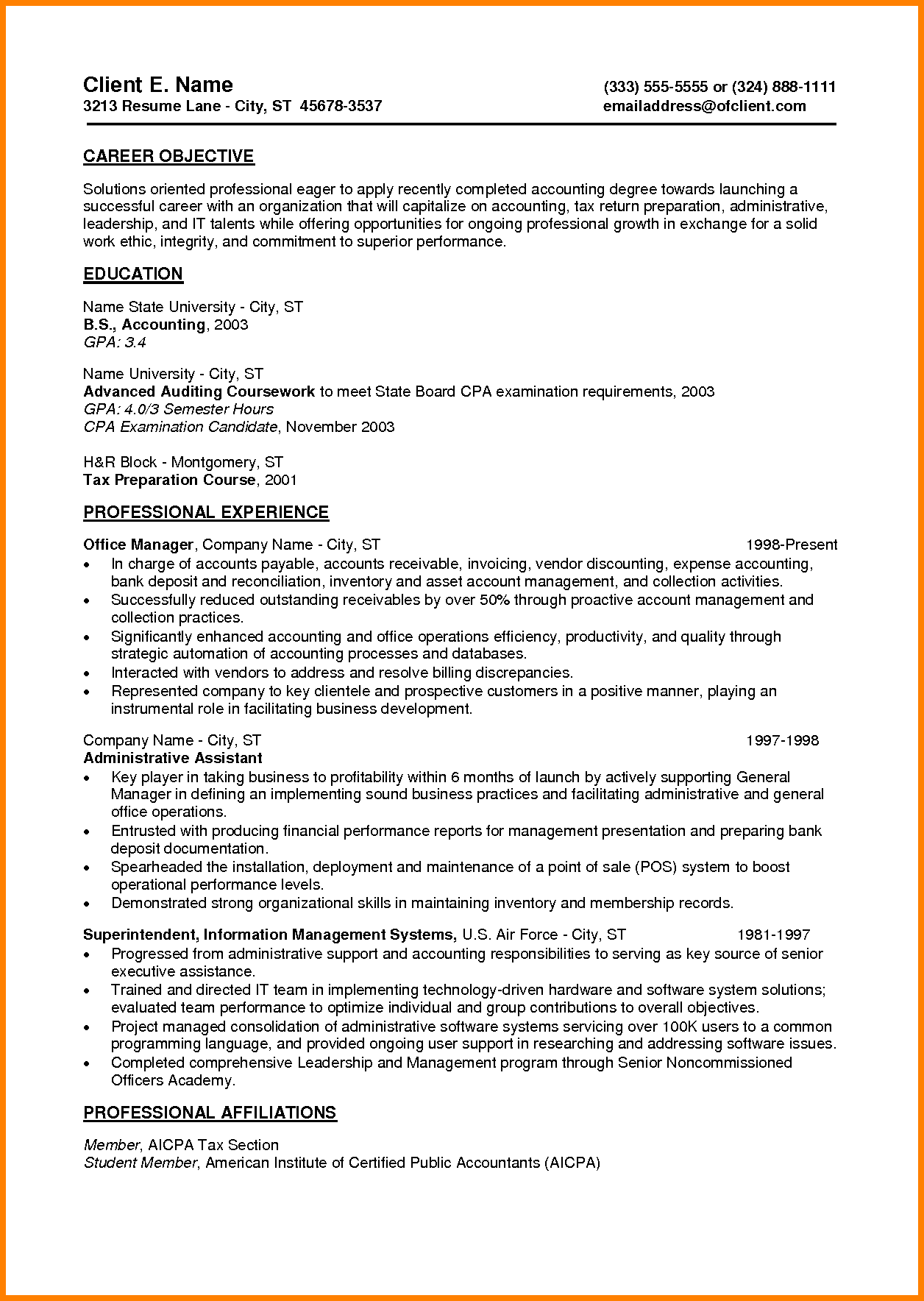 Summary Career Objective Qualifications Resume Example Samples