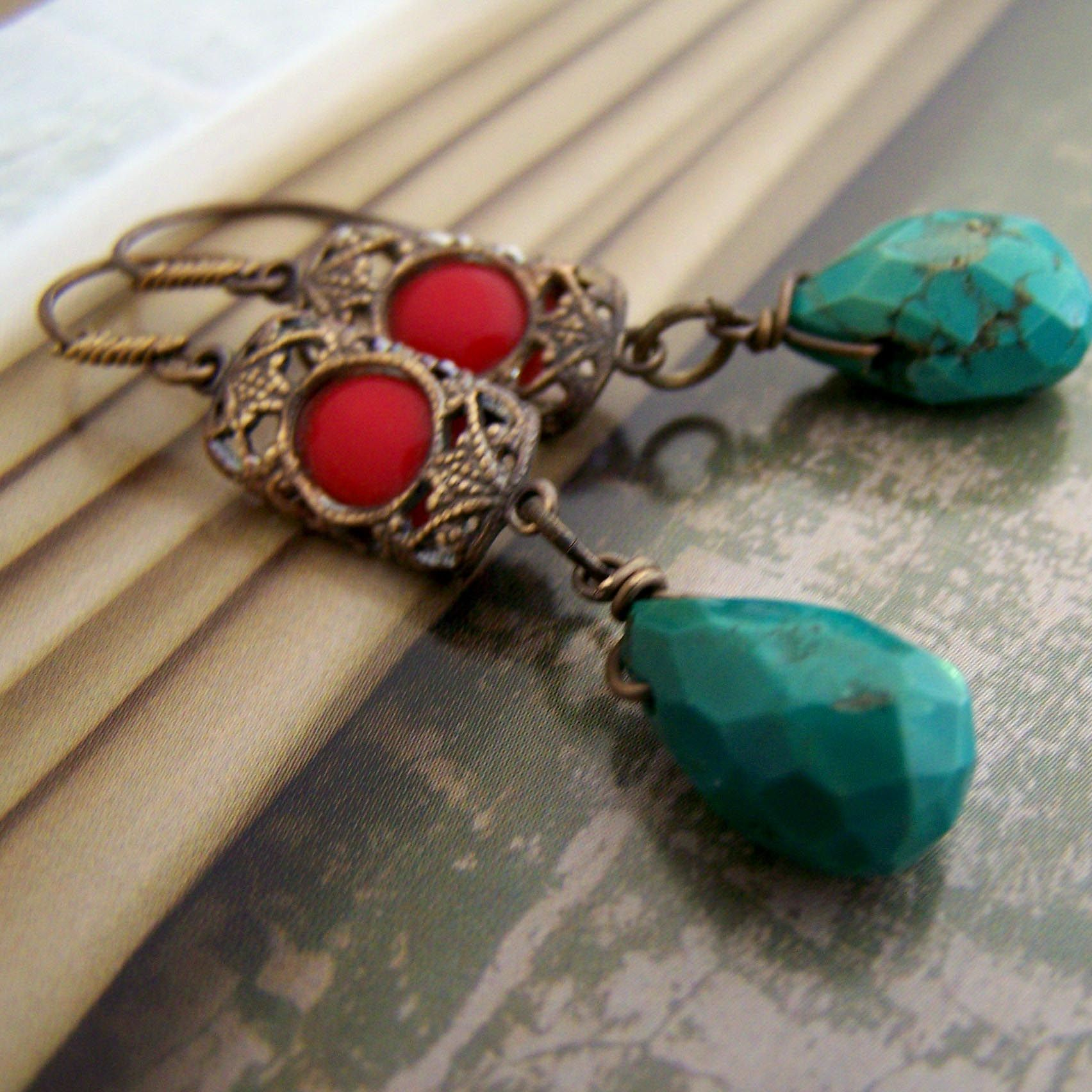 Turquoise and antique Czech glass