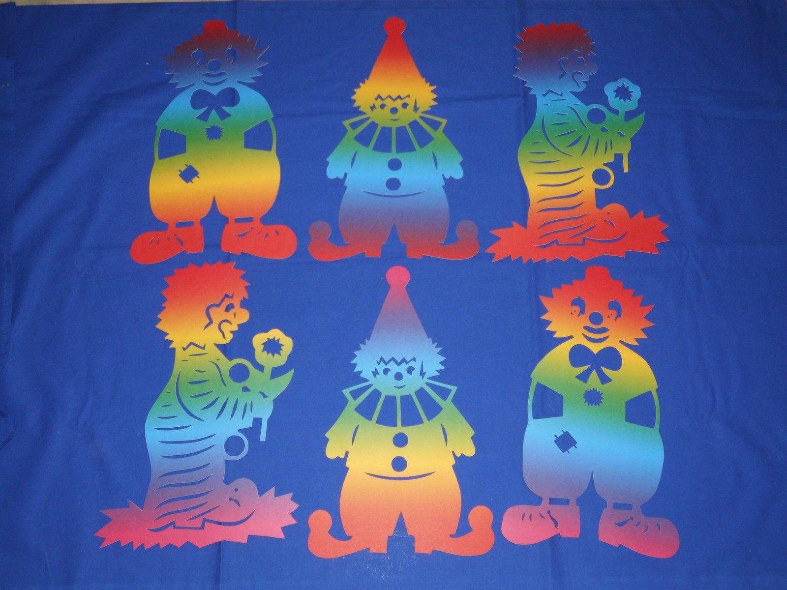 Fensterbilder tonkarton clown karneval fasching regenbogen 34 cm bunt neu fensterbilder - Fensterbilder karneval ...