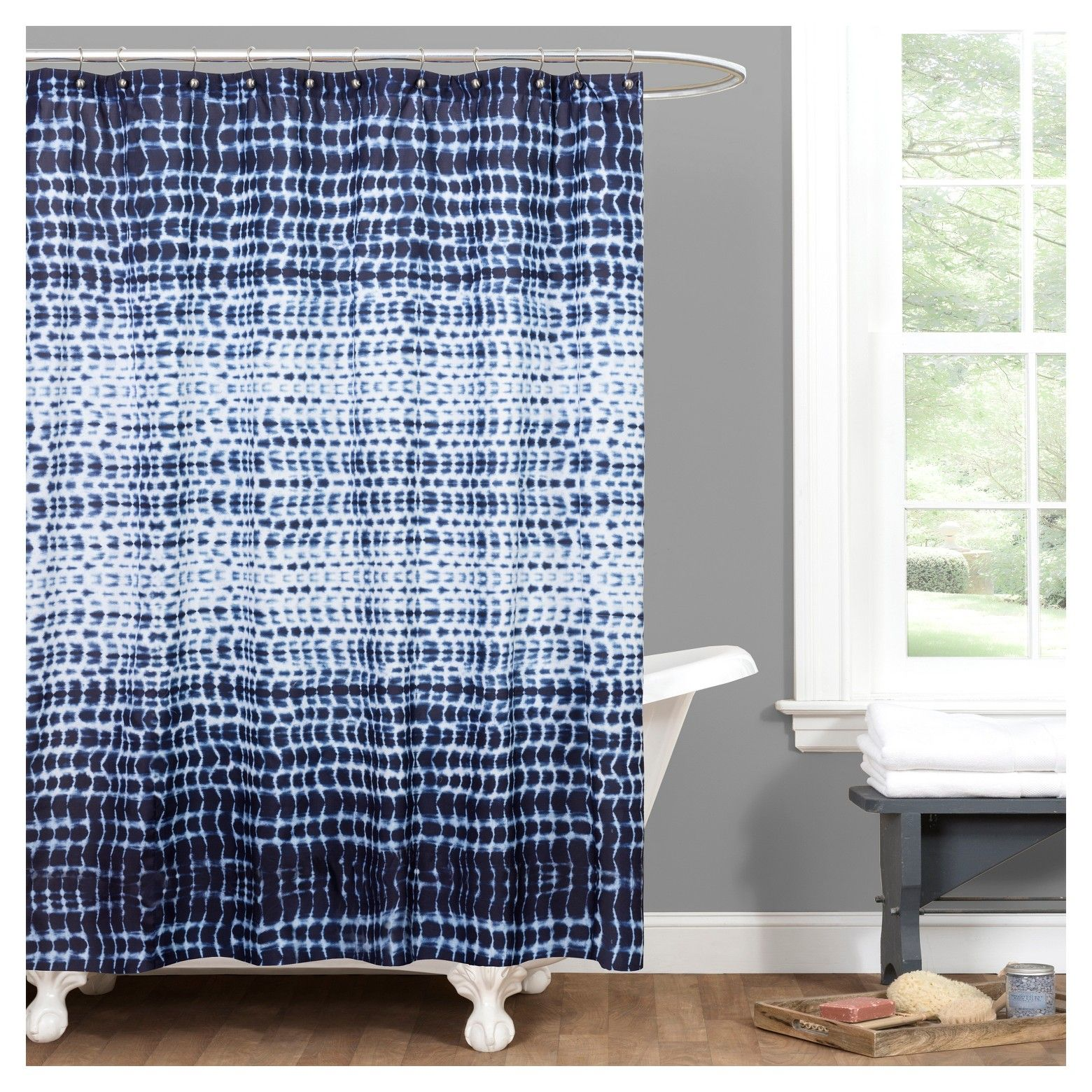 The Arney Tye Dye Shower Curtain Features A Vibrant Tie Dye Design