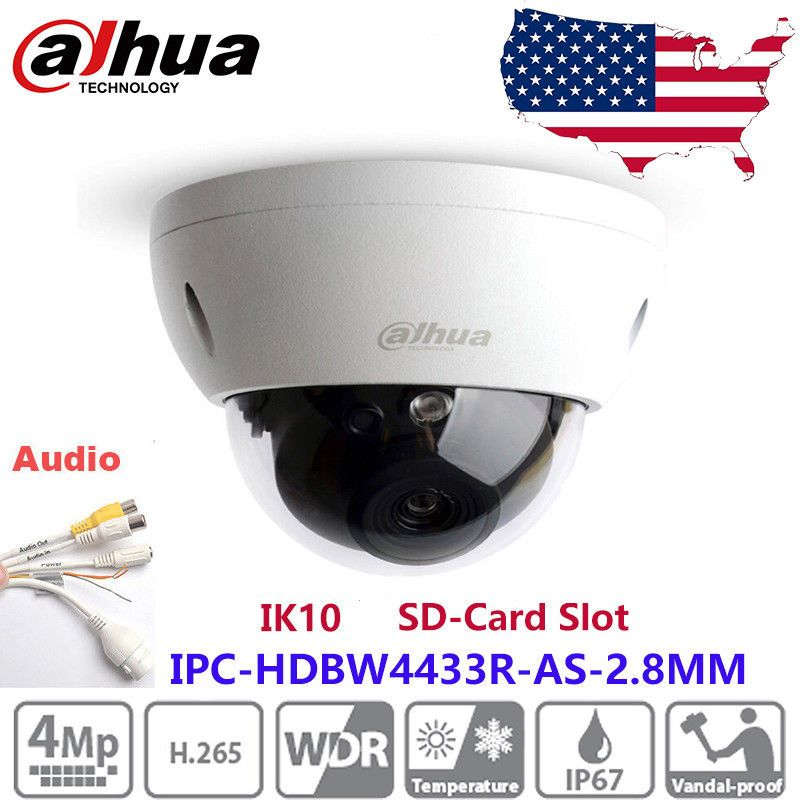 Dahua IPC-HDBW4431F-AS POE 4MP Audio Network Vandal-proof IR Wedge Dome Camera