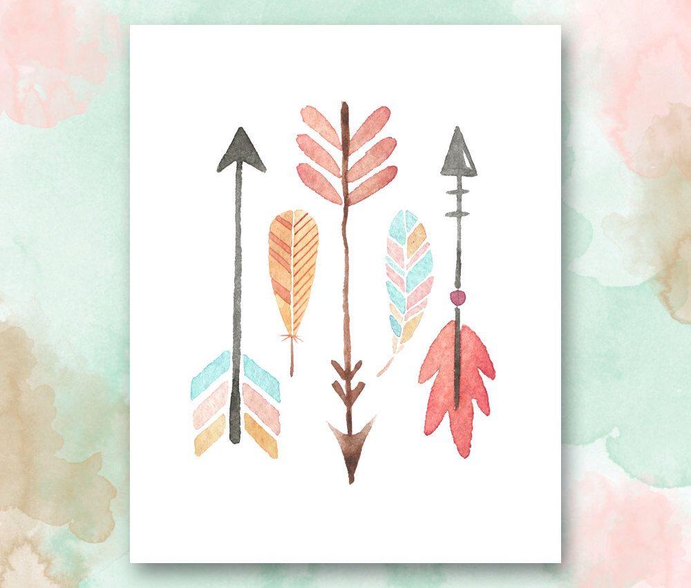 arrows and feathers printable boho chic nursery wall art playroom