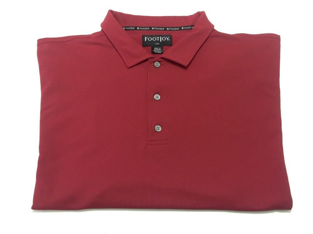 Footjoy XXL Men's Red Short Sleeve Polyester Golf Polo Shirt 2XL FJ #FootJoy #PoloRugby