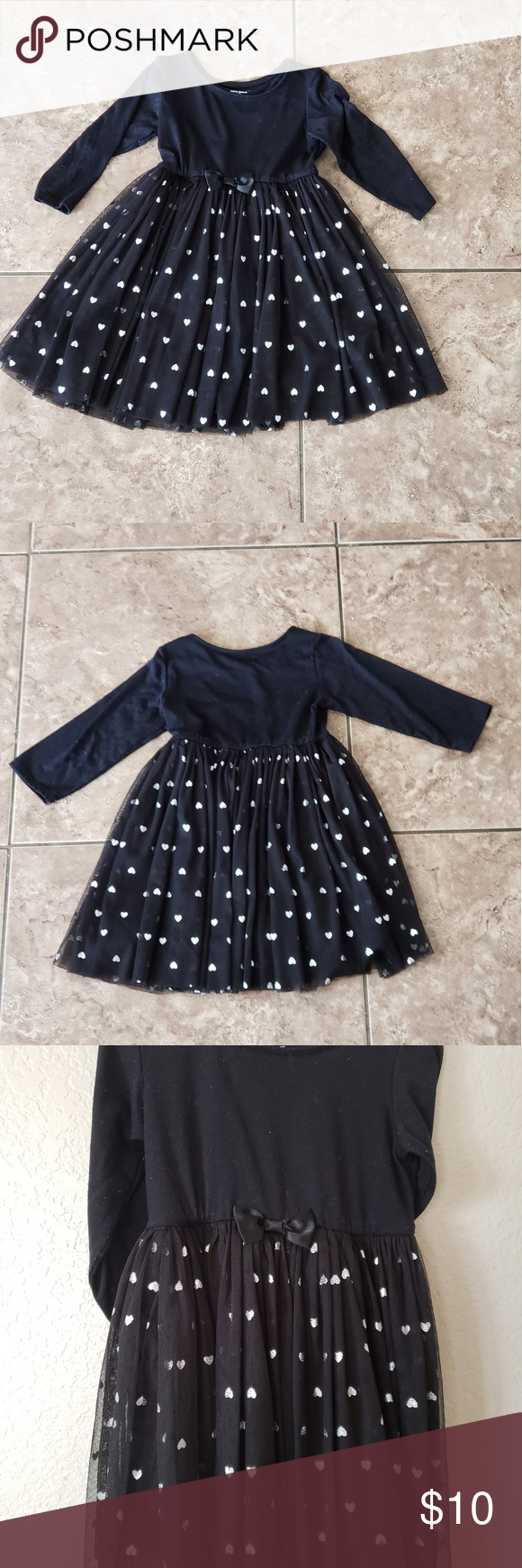 Toughskins Toddler Black Dress Very Nice And Flowy With Black Heart On The Front And Glittery Hearts On The Tulle S Toddler Black Dress Dresses Clothes Design [ 1740 x 580 Pixel ]