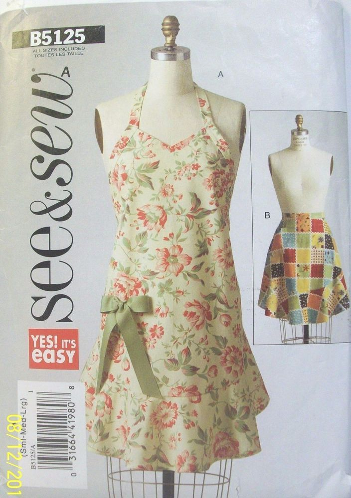 Butterick See & Sew Apron Pattern B5125 Size Small Full and Half ...
