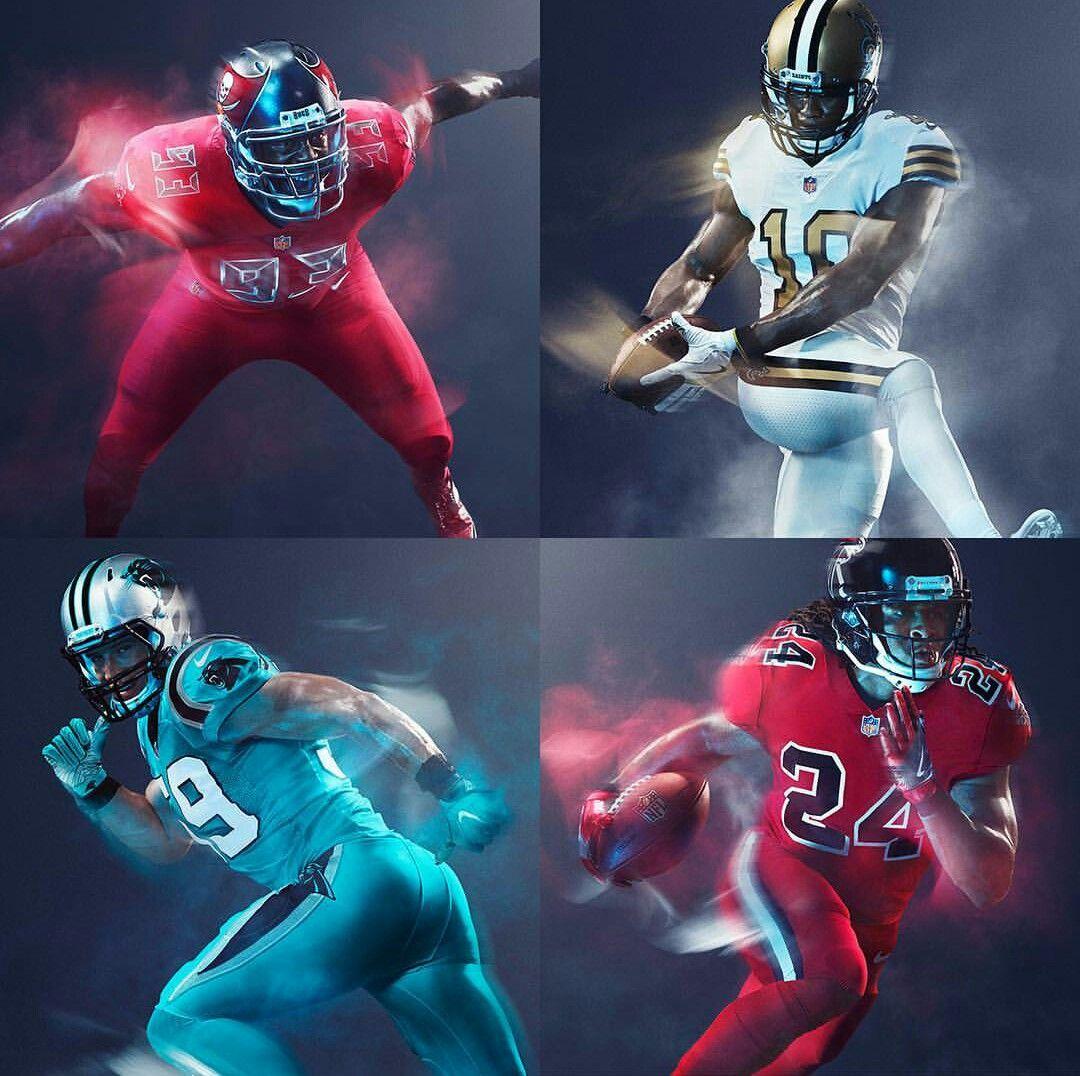 Nfl Nfc South 2016 Color Rush Uniforms Color Rush Uniforms Nfl Football Design Nfc South