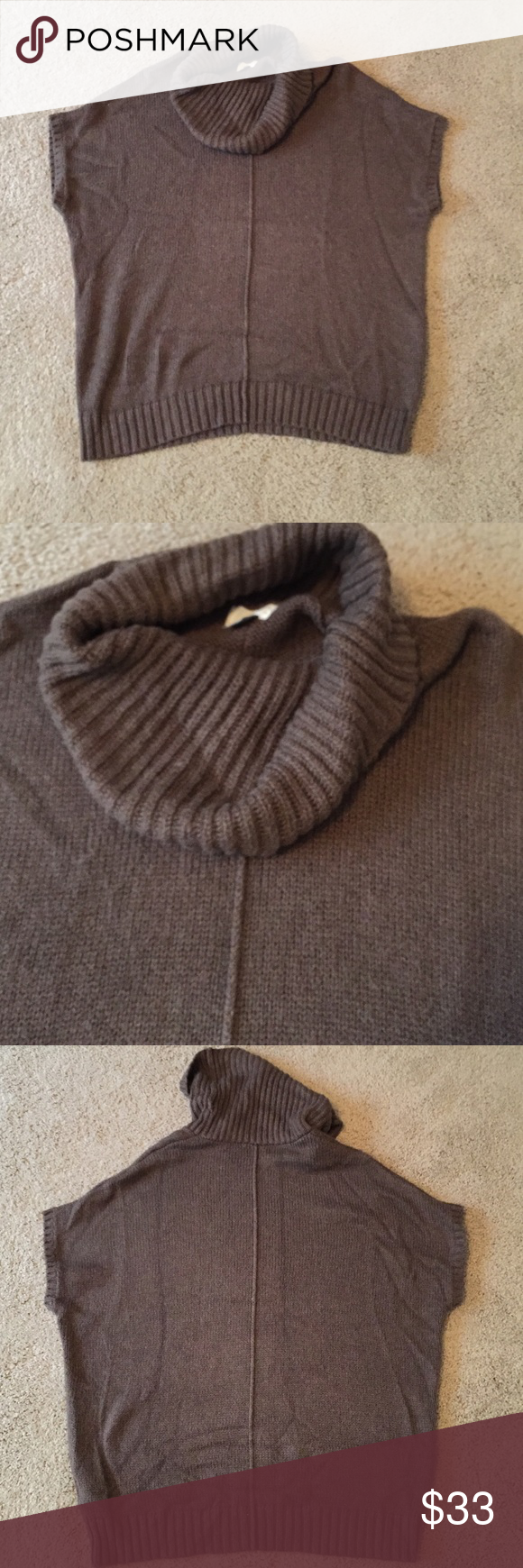 Chocolate Brown Short Sleeve Cowl Neck Sweater❄ In great ...