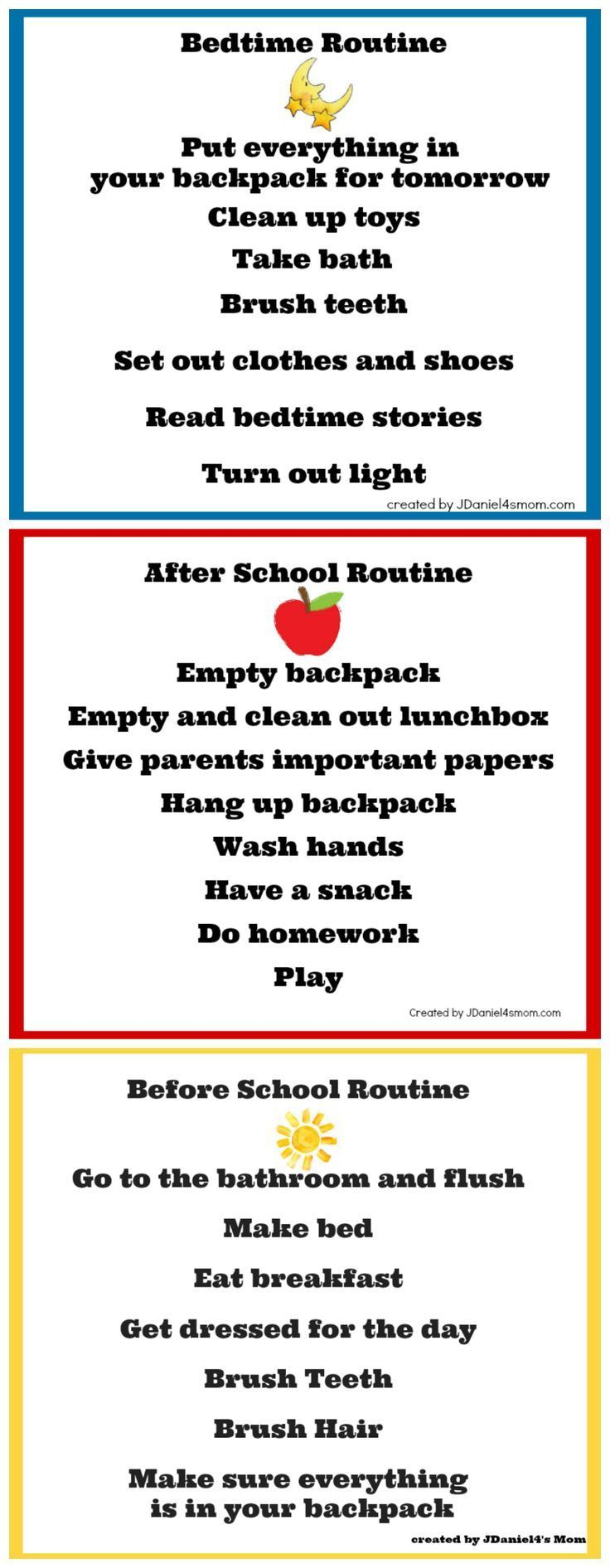 Back To School C Charts Helpful As Your Kids Transition From Summer Adventures A More Structured Every Day Routine Jdaniel4smom