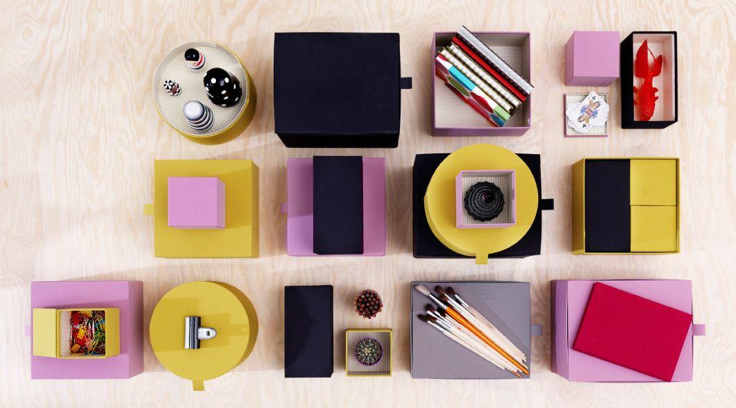 runde und viereckige pallra boxen mit deckel in dunkelgrau dunkelgelb und hellrosa ikea. Black Bedroom Furniture Sets. Home Design Ideas