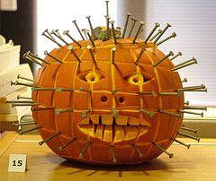 Hellraiser Pumpkin (Helena Pugsley) Tags: halloween pumpkin jackolantern  pinhead thechallengegame challen…   Pumpkin, Pumpkin halloween decorations,  Pumpkin stencil
