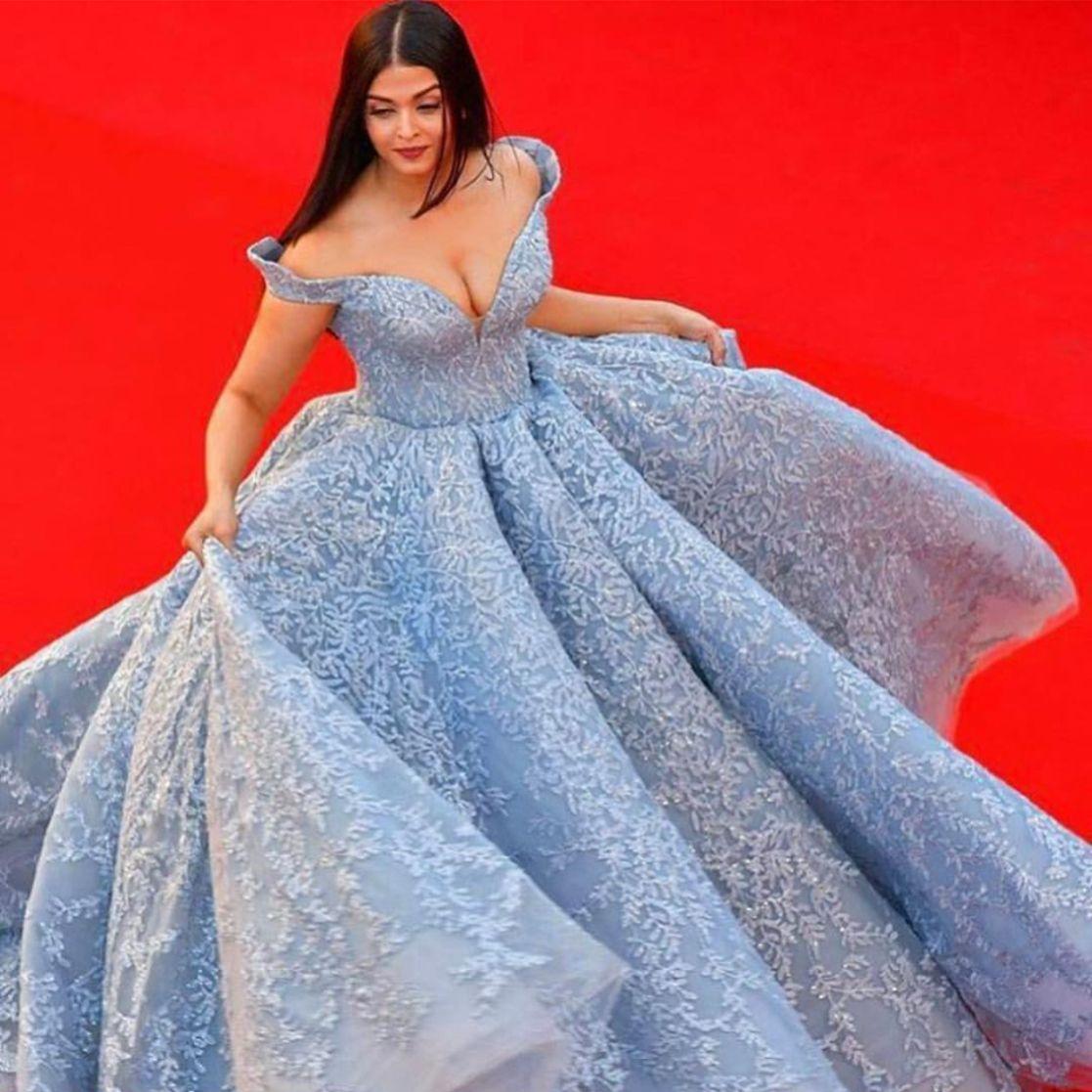 Aishwarya Rai wearing Michael Cinco at the 2017 Cannes film festival ...