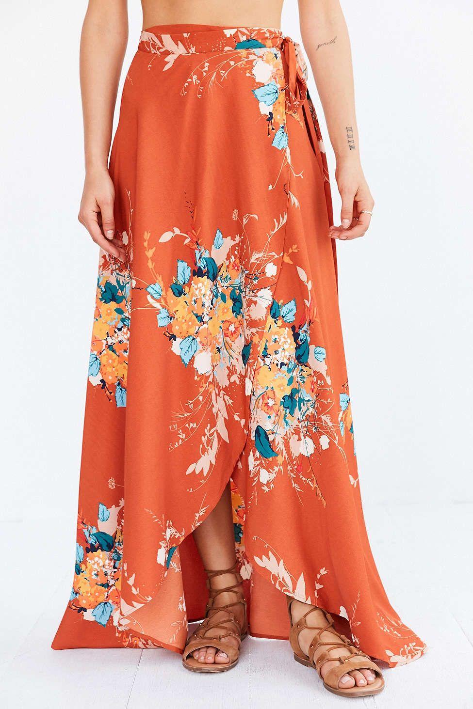 bog collective tulip wrap maxi skirt clothes