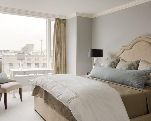 Exemple d\'une chambre avec moquette tendance avec un mur gris et un ...