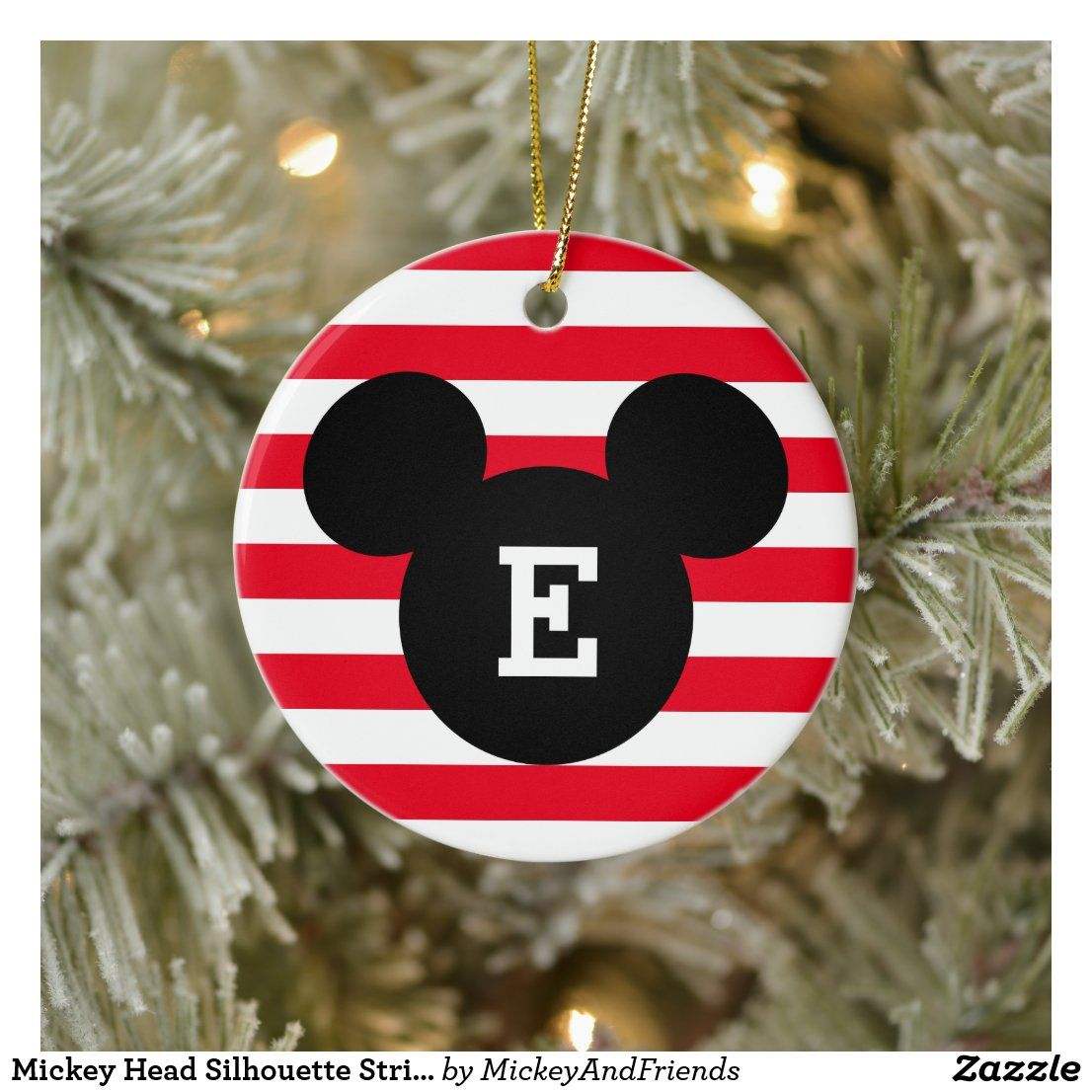 Mickey Head Silhouette Striped Pattern Monogram Ceramic Ornament Zazzle Com In 2021 Disney Ornaments Diy Disney Christmas Decorations Diy Xmas Ornaments