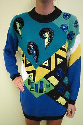 Vtg 80's Sweater Sz M Glam Geometric Color Block Embellished Mini Dress Jumper | eBay