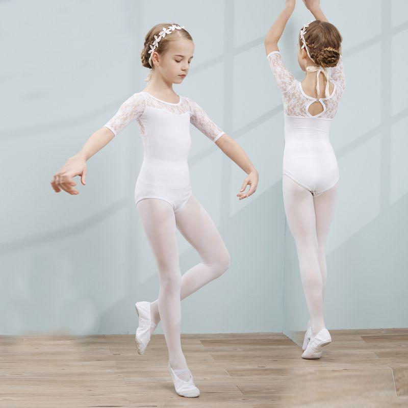 4204a54bc5c Ballet Ropa de Danza Leotardo Para Las Niñas de Algodón Puro Medio de  Encaje de Manga