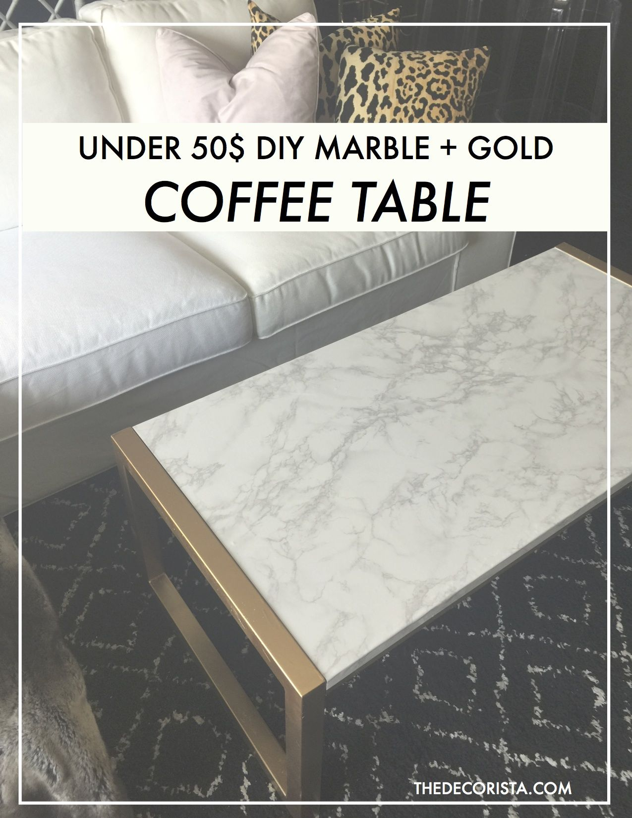 Get the look Marble gold coffee table under 50$
