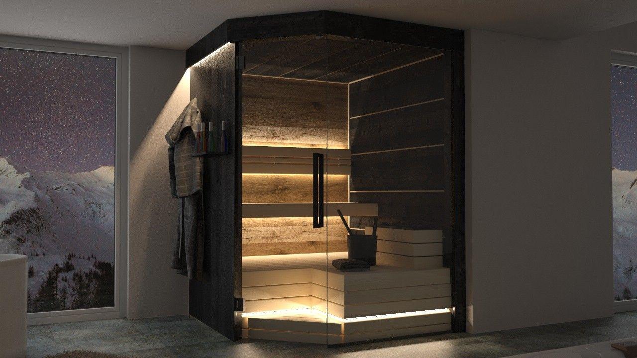 Finnische sauna   schwarz   black   moderne sauna   sauna Idee ...