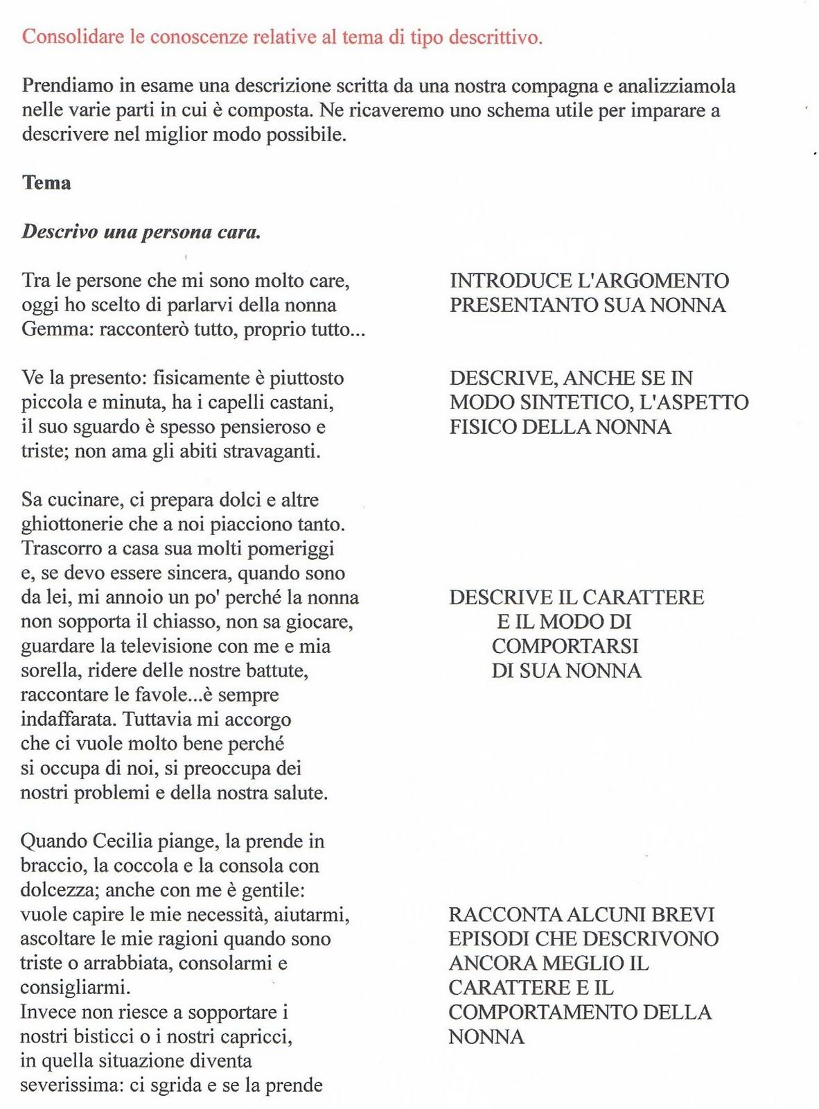 Didattica Scuola Primaria La Descrizione Di Una Persona Cara La Nonna Il Testo E La Traccia Del Lavoro Comprensione Scritta Scuola Imparare L Italiano