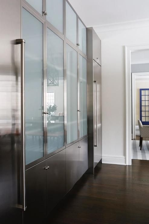 Stainless Steel And Frosted Glass Kitchen Cabinets Modern