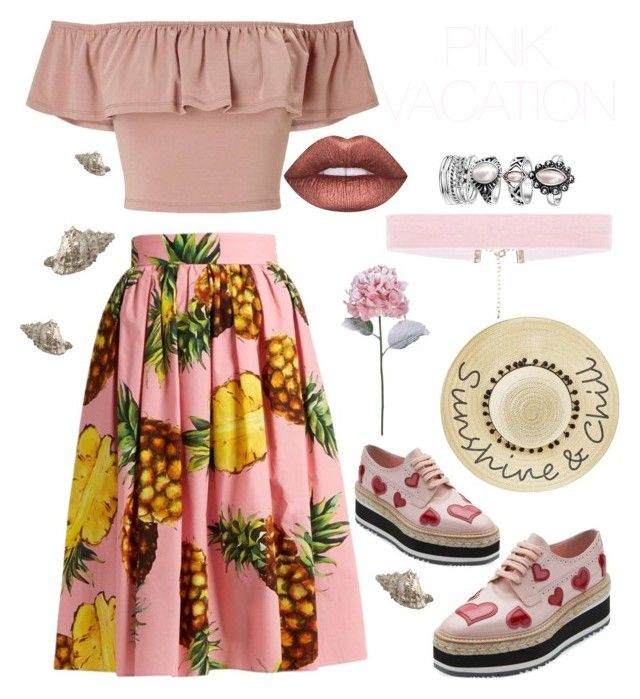 """Vacation #1"" by avfranz ❤ liked on Polyvore featuring Lime Crime, Dolce&Gabbana, Prada, Betsey Johnson and Miss Selfridge"