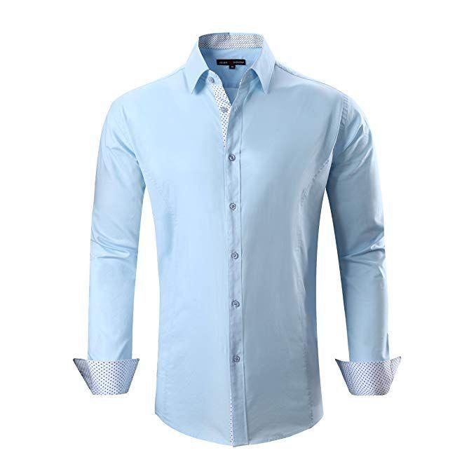 bf41f9266af Alex Vando Mens Dress Shirts Regular Fit Long Sleeve Men Shirt(Black ...