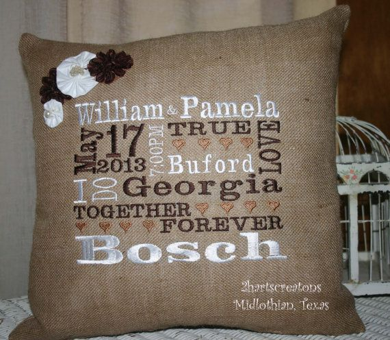 Personalized Burlap Pillow Wedding Gift With Widding