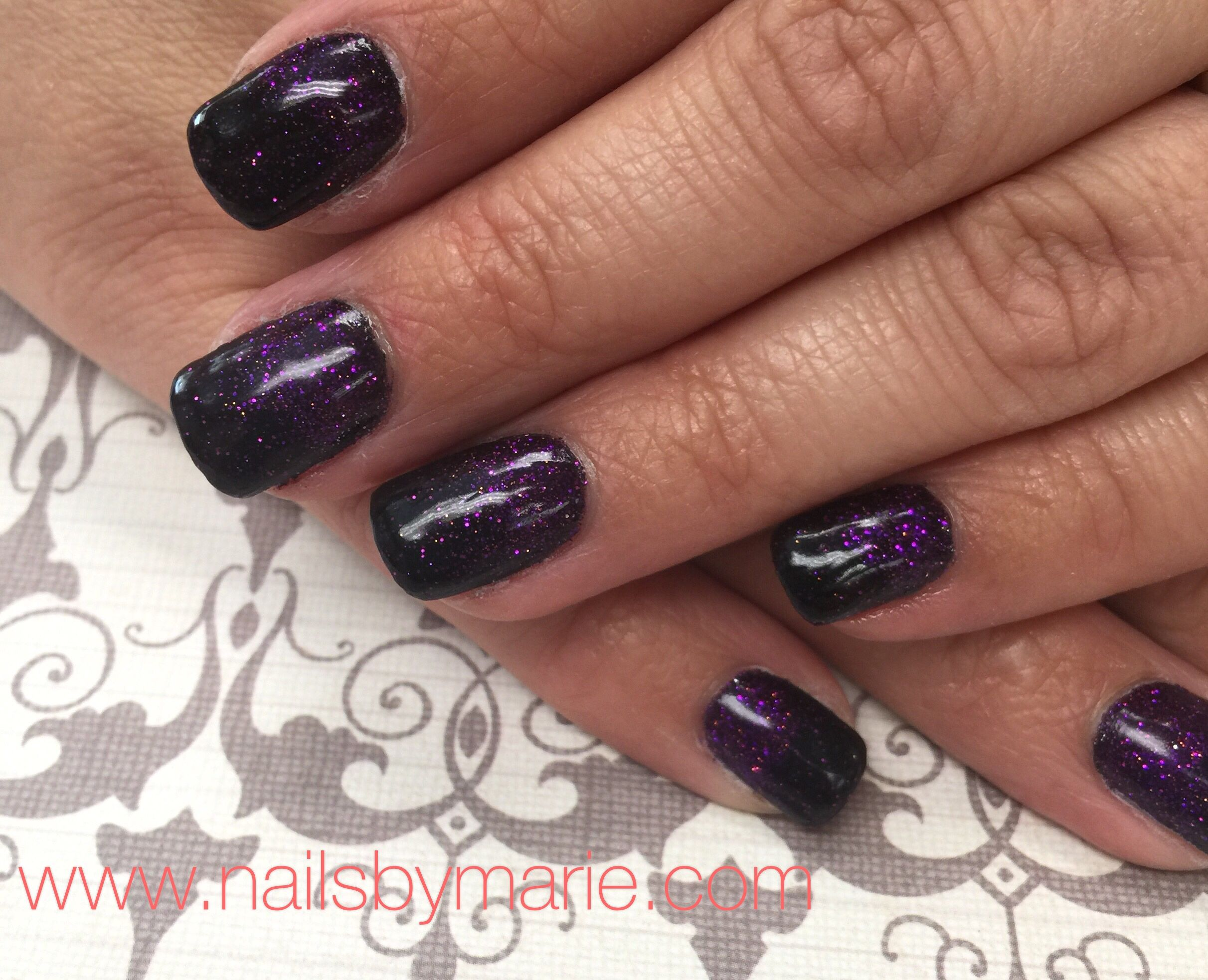 Purple And Black Ombre With Sns Dipping Powder Dipped Nails Ombre Nails Glitter Nails