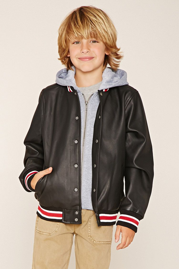 Forever 21 Boys A Faux Leather Bomber Jacket Featuring Varsity Striped Trim A Boys Leather Jacket Kids Bomber Jacket Boys Bomber Jacket [ 1125 x 750 Pixel ]