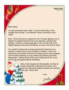 In this free printable santa claus letter santa warns the child in this free printable santa claus letter santa warns the child that they are on the naughty list and offers suggestions about how to get onto the nice spiritdancerdesigns Images