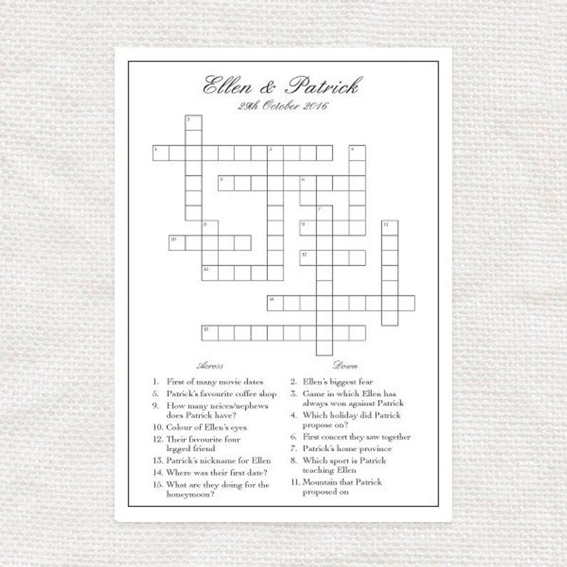 Custom Designed Wedding Crossword Printable File Bridal Etsy Wedding Reception Program Wedding Games Wedding Crossword Puzzle