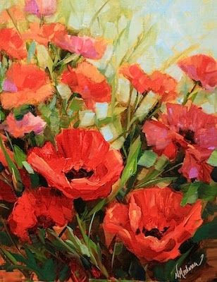Pink Pilate Poppies by Texas Flower Artist Nancy Medina, painting by artist Nancy Medina