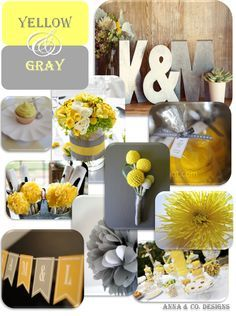 Yellow and grey wedding | mariage | Pinterest | Grey weddings, Gold ...